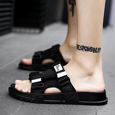 cheap Men's Slippers & Flip-Flops-Men's Comfort Shoes Rubber Spring & Summer Preppy Slippers & Flip-Flops Waterproof Black / Black / White / Royal Blue
