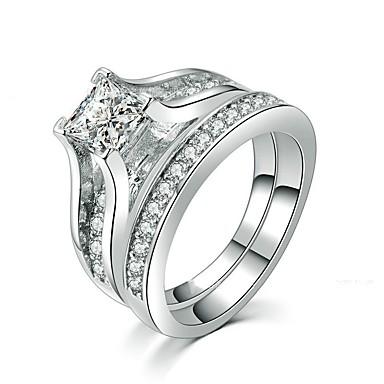 levne Dámské šperky-Dámské Band Ring Kubický zirkon 1 sada Bílá Slitina Circle Shape stylové Jednoduchý Cute Style Denní Šperky Průhledné HALO Miláček Šťastný