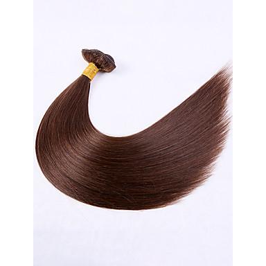 povoljno Ekstenzije od ljudske kose-7 paketića Brazilska kosa Ravan kroj Virgin kosa Produžetak 18 inch Smeđa Isprepliće ljudske kose proširenje Woven Prirodno Proširenja ljudske kose