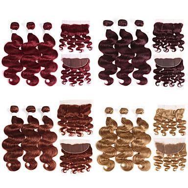 povoljno Ekstenzije od ljudske kose-3 paketi s zatvaranjem Brazilska kosa Tijelo Wave Remy kosa Ekstenzije od ljudske kose Kosa potke zatvaranje 10-26 inch Isprepliće ljudske kose Nježno Najbolja kvaliteta Novi Dolazak Proširenja
