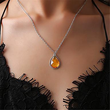 levne Dámské šperky-Dámské Křišťál High End Crystal Náhrdelníky s přívěšky Hruška Hruška Jednoduchý Módní Chrome Žlutá Sytě červená Světle modrá 46+5 cm Náhrdelníky Šperky 1ks Pro Narozeniny Jdeme ven