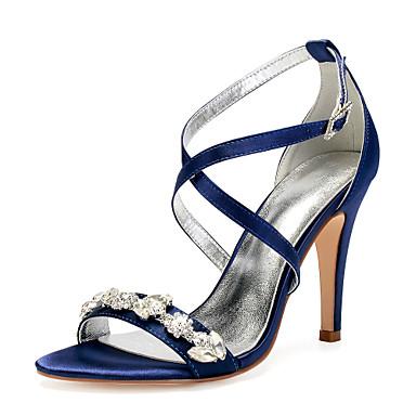 5f558ad68 Women's Satin Spring & Summer Sweet Wedding Shoes Stiletto Heel Round Toe  Rhinestone / Sparkling Glitter Burgundy / Champagne / Ivory / Party &  Evening ...