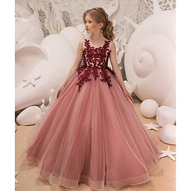 cheap Baby & Kids-Kids Girls' Active Sweet Party Holiday Dusty Rose Solid Colored Sleeveless Maxi Dress Blushing Pink