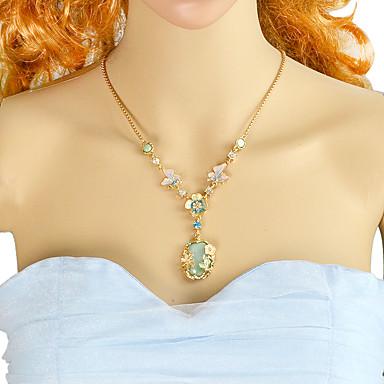povoljno Modne ogrlice-Žene Zelen žuta Tourmaline Ogrlice s privjeskom Kruška Cvijet Rukav leptir Kruška Romantični Moda Krom Emajl žuta Svijetlo zelena 56.5 cm Ogrlice Jewelry 1pc Za Dnevno Spoj