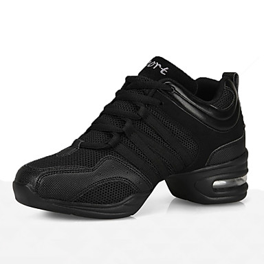 cheap Dance Sneakers-Women's Dance Shoes Leather Dance Sneakers Sneaker Thick Heel Customizable Black / Performance / Practice