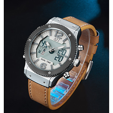 preiswerte Designer Uhren-ASJ Herrn Uhr Sportuhr Digitaluhr Japanisch Japanischer Quartz Echtes Leder Schwarz / Braun 100 m Alarm Armbanduhren für den Alltag Analog-Digital Freizeit Modisch Schwarz Braun / Zwei jahr
