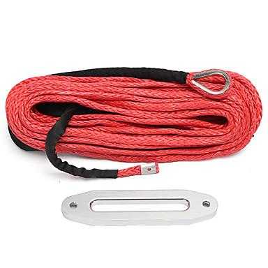 billige Interiørtilbehør til bilen-12mmx30m 12000 lbs syntetisk tau vinsj kabel anker rød med hawse fairlead