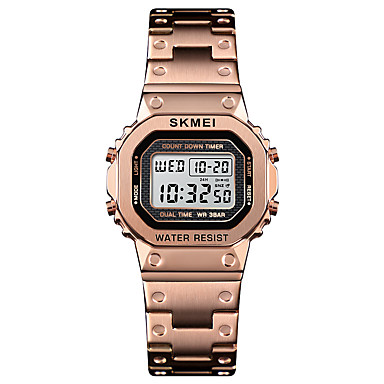 cheap Women's Brand Watches-SKMEI Women's Sport Watch Wrist Watch Square Watch Digital Stainless Steel Black / Silver / Gold 30 m Alarm Calendar / date / day Chronograph Digital Casual Fashion - Silver Blue Rose Gold One Year