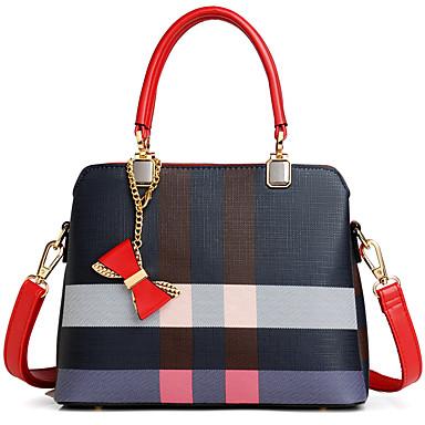 Žene Patent-zatvarač PU Tote torbica Geometrijski uzorak Braon / Plava / Jesen zima
