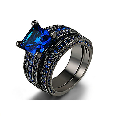 cheap Rings-Men's Ring Set AAA Cubic Zirconia 1 set Dark Blue Alloy Circle Bohemian Casual / Sporty Wedding Engagement Jewelry Mismatched Lucky Cool