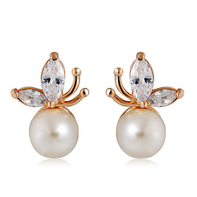 4b6e657fa Women s Clear Crystal Classic Stud Earrings Imitation Pearl Rose Gold  Plated Earrings Trendy Fashion Cute Jewelry White For Daily Formal 1 Pair  7125526 2019 ...
