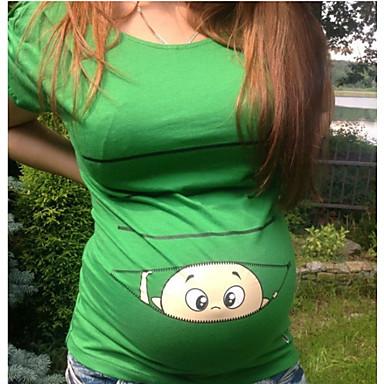 voordelige Zwangerschapskleding-Dames Print Zwangerschap - T-shirt Cartoon Wijn