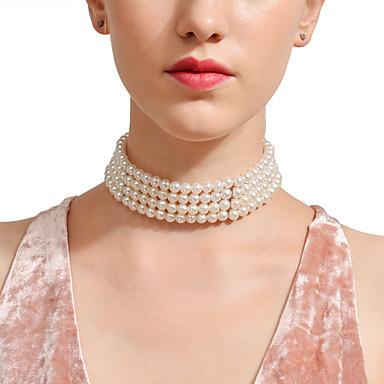povoljno Modne ogrlice-Žene Sapphire Igazgyöngy nyaklánc Statement Azijski Imitacija bisera Pink 28 cm Ogrlice Jewelry 1pc Za Vjenčanje Rođendan Večer stranka Praznik Jabuka
