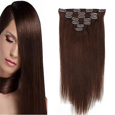 Κουμπωτό Επεκτάσεις ανθρώπινα μαλλιών Ίσιο Φυσικά μαλλιά Εξτένσιον από Ανθρώπινη Τρίχα 14-20 inch Φυσικό Μαύρο Ξανθό Το Golden Brown / Bleach Blonde / 8A / Μεσαίο Καφέ