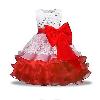 billige Prinsesse-Barn Jente Grunnleggende Daglig Ensfarget Langermet Kjole Rød