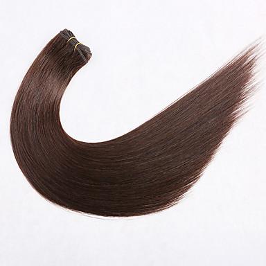 levne Příčesky z pravých vlasů-Premierwigs Útková příze Rozšíření lidský vlas Volný Nezpracované lidské vlasy Prodloužení Brazilské vlasy Přírodní Tmavě hnědá 1 ks Tkanina Přírodní Nejlepší kvalita Dámské Tmavě hnědá