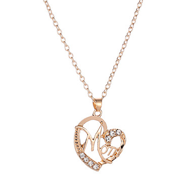 21bb027882a Women's Cubic Zirconia Name Pendant Necklace Imitation Diamond Heart Letter  Fashion Cute Initial Cute Black Silver Rose Gold 47+5 cm Necklace Jewelry  1pc ...