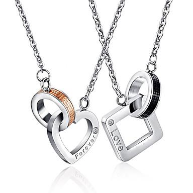povoljno Modne ogrlice-Muškarci Žene Ogrlice s privjeskom crossover Srce Slovo Odnos pomodan Hip-hop nehrđajući Crn Rose Gold 50 cm Ogrlice Jewelry 1pc Za Vjenčanje Angažman