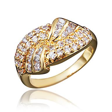 billige Motering-Dame Ring Forlovelsesring Kubisk Zirkonium 1pc Gull Sølv 18K Gullbelagt Fuskediamant Statement Stilfull Romantikk Fest Engasjement Smykker Klassisk