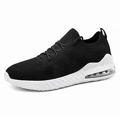 สำหรับผู้ชาย รองเท้าสบาย ๆ ถัก ฤดูใบไม้ผลิ / ตก Sporty / ไม่เป็นทางการ รองเท้ากีฬา สำหรับวิ่ง ไม่ลื่นไถล สีดำ / ขาว / แดง / การกรีฑา / ช็อตดูดซับ