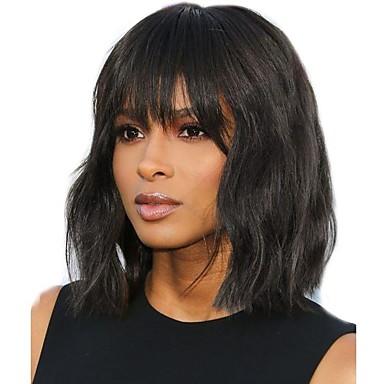 Χαμηλού Κόστους Ομορφιά και μαλλιά-Χωρίς επεξεργασία Ανθρώπινη Τρίχα Δαντέλα Μπροστά Περούκα Κούρεμα καρέ Βαθιά διαίρεση στυλ Βραζιλιάνικη Κυματιστό Φυσικό Περούκα 130% 150% 180% Πυκνότητα μαλλιών / Ανθεκτικό στη Ζέστη