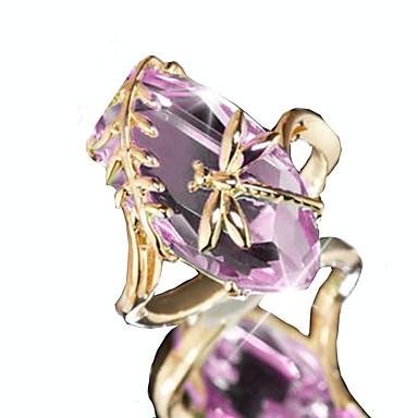 billige Motering-Dame Statement Ring Ametyst 1pc Lilla Grønn Kobber Uvanlig Unikt design Europeisk Fest Stevnemøte Smykker Klassisk Oval Dragonfly Humør Søtt