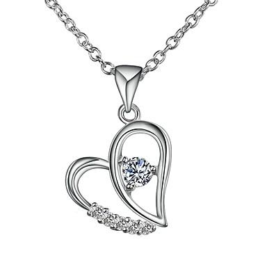 levne Dámské šperky-Dámské Fialová Diamant Kubický zirkon drobný diamant Náhrdelníky s přívěšky Řetízky Náhrdelník Srdce Duté srdce Jednoduchý Základní Romantické Módní Postříbřené Stříbrná Fialová 46 cm Náhrdelníky