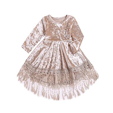 povoljno Odjeća za bebe-Dijete Djevojčice Aktivan / Boho Dnevno Jednobojni Rese Dugih rukava Asimetričan Haljina Bež / Dijete koje je tek prohodalo