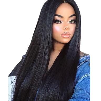 halpa Synteettiset peruukit verkolla-Synteettiset peruukit Suora Silkkinen suora Kardashian Kerroksittainen leikkaus Keskiosa L-muotoinen Peruukki Pitkä Musta Synteettiset hiukset 26 inch Naisten Pehmeä Heat Resistant Tulokas Musta