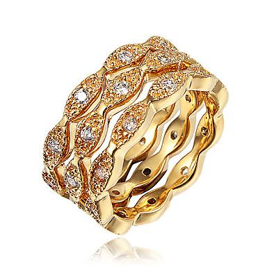 billige Motering-Dame Ring Ring Set Evigheten Ring Kubisk Zirkonium 3pcs Gull Sølv 18K Gullbelagt Gullt gull Fuskediamant Statement Stilfull Mote Fest Engasjement Smykker Klassisk