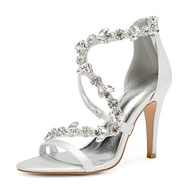 ieftine Pantofi de Mireasă-Pentru femei pantofi de nunta Sandale de cristal Toc Stilat Vârf rotund Piatră Semiprețioasă / Sclipici Strălucitor Satin Dulce Primavara vara Mov / Galben / Rosu / Nuntă / Party & Seară