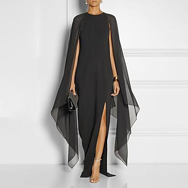 preiswerte Bis zu 70 % REDUZIERT-A-Linie Schmuck Boden-Länge Chiffon Formeller Abend Kleid mit Vorne geschlitzt durch LAN TING Express