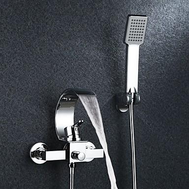 Shower Faucet.134 39 Shower Faucet Bathtub Faucet Contemporary Chrome Wall Mounted Ceramic Valve Bath Shower Mixer Taps