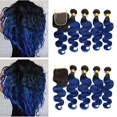 povoljno Ekstenzije od ljudske kose-4 paketi s zatvaranjem Brazilska kosa Tijelo Wave Remy kosa Ekstenzije od ljudske kose Kosa potke zatvaranje 10-24 inch Isprepliće ljudske kose Nježno Najbolja kvaliteta Novi Dolazak Proširenja