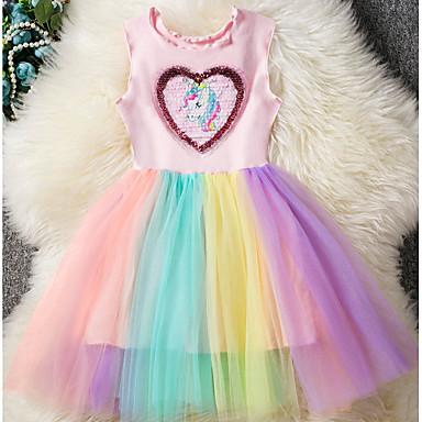 economico Festa mondiale dei bambini-Bambino Da ragazza Essenziale Unicorn Arcobaleno Collage Senza maniche Vestito Rosa