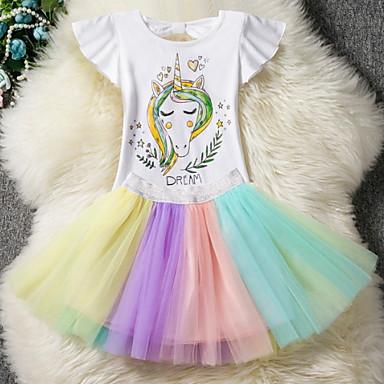 preiswerte Angebote zu Ostern-Kinder Mädchen Street Schick Alltag Unicorn Einfarbig Gitter Kurzarm Kleidungs Set Regenbogen
