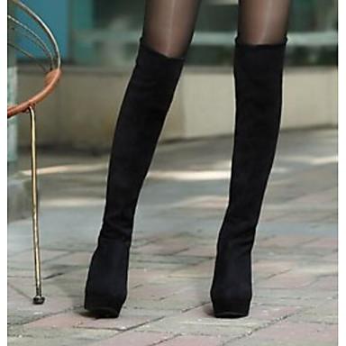levne Dámská obuv-Dámské Boty Boty přes kolena Klínový podpatek Semiš Nad kolena Podzim zima Černá