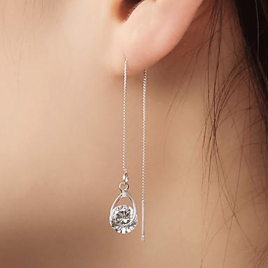 preiswerte Lange Ohrringe-Damen Kubikzirkonia Tropfen-Ohrringe Ohrringe baumeln Hängende Ohrringe Solitär Einfach Anhänger Stil Modisch Diamantimitate Ohrringe Schmuck Gold / Silber Für Party 1 Paar