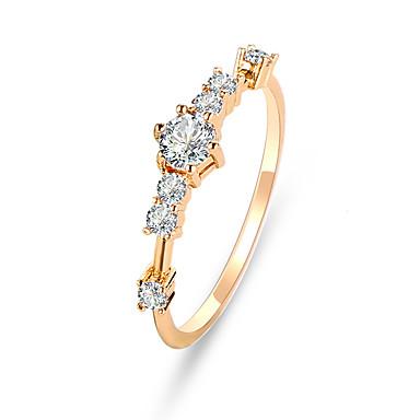 billige Motering-Dame Ring Tail Ring Kubisk Zirkonium 1pc Gull Sølv Fuskediamant Legering Sirkelformet søt stil Fest Engasjement Smykker Klassisk Blomst Søtt