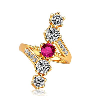 billige Statement Ringe-Dame Statement Ring Kubisk Zirkonium 1pc Gul Kobber Gullbelagt Geometrisk Form Stilfull Europeisk Romantikk Gave Stevnemøte Smykker Kul