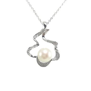 preiswerte Religiöser Schmuck-Damen Weiß Perlen Pendant Halskette Halskette Perlenkette Blume Welle Künstlerisch Romantisch Modisch Modern Perlen Zirkonia Platiert Weiß 46 cm Modische Halsketten Schmuck 1pc Für Weihnachten