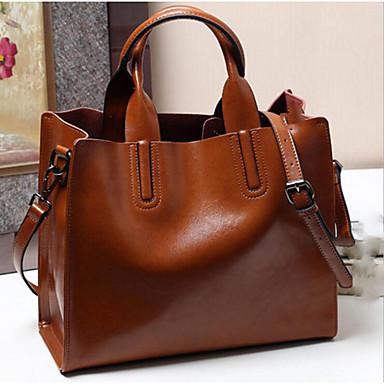 cheap Handbag & Totes-Women's Bags Cowhide Tote Zipper for Daily Wine / Black / Blushing Pink