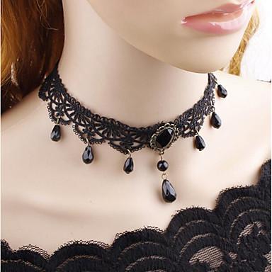 Žene Choker oglice Klasičan jeftino Vintage Gotika Tekstil Krom Crn 38 cm Ogrlice Jewelry 1pc Za Večer stranka Ulica