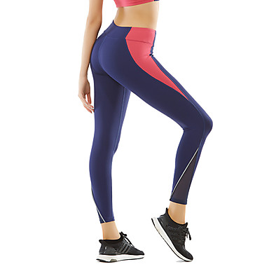 3c94f5e2b12 Women s Patchwork Yoga Pants Black Blue Sports Color Block Elastane Tights  Leggings Running Fitness Workout Activewear Breathable Moisture Wicking  Quick Dry ...
