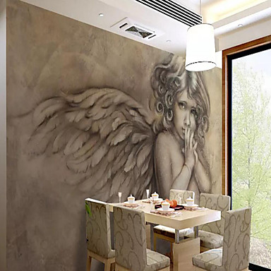 cheap Wall Art-Wallpaper / Mural / Wall Cloth Canvas Wall Covering - Adhesive required Art Deco / 3D / Angel