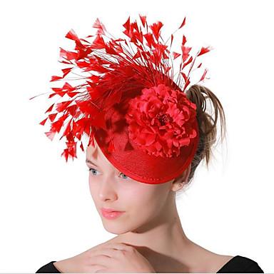 povoljno Nakit za kosu-Žene dame Vintage Zabava Elegantno Perje Tekstil Tiaras Vjenčanje Zabava / večer - Cvjetni print / Ogroman