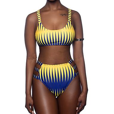6c346c6b7e9cd Women's Sporty Basic Boho Yellow Halter Thong Cheeky High Waist Tankini  Swimwear - Color Block Rainbow Backless Racerback S M L Yellow 7157667 2019  – $14.36