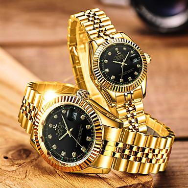povoljno Ženski satovi-Par je Sat uz haljinu Kvarc odgovarajući Njegova i Njezina Nehrđajući čelik Zlatna 30 m Vodootpornost Kalendar Analog Luksuz Moda - Obala Crn Plava