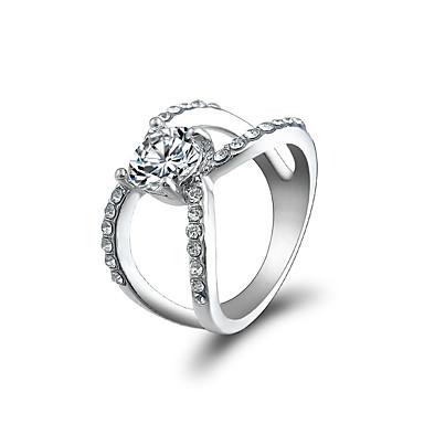 preiswerte Ringe Silber-Damen Statement-Ring Ring Kubikzirkonia 1pc Weiß Aleación Geometrische Form Erklärung Stilvoll Luxus Party Geschenk Schmuck Cool