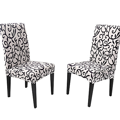 cheap Slipcovers-Slipcovers Chair Cover Printed Polyester/ Classic Black & White/ Floral Pattern/ Highly Stretchy